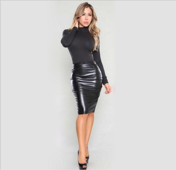 Fashion Sexy Faux Leather Pencil Skirt Black Red Winter AAutumn OL .
