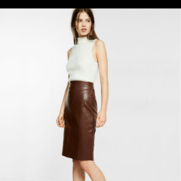 Express Skirts | Brown Leather Pencil Skirt | Poshma