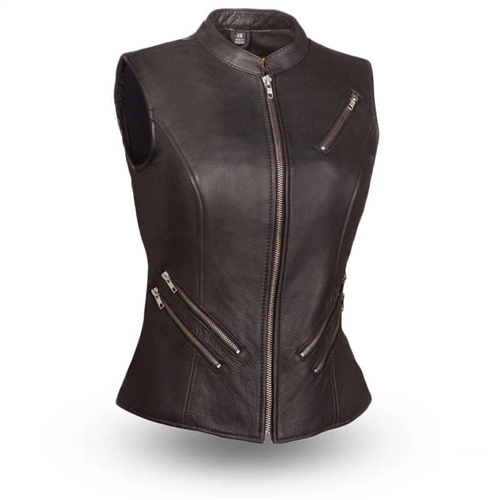Women's Leather Motorcycle Vests - Zip Style (Top Rate
