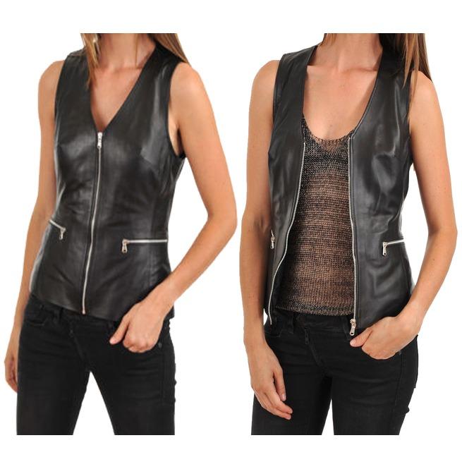 Womens Leather Vest Coat Black Slim Fit Motorcycle | RebelsMark