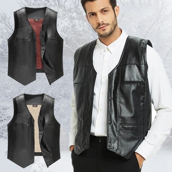 2019 The New Men's Thick Leather Vest Casual Vest Men's Leather .