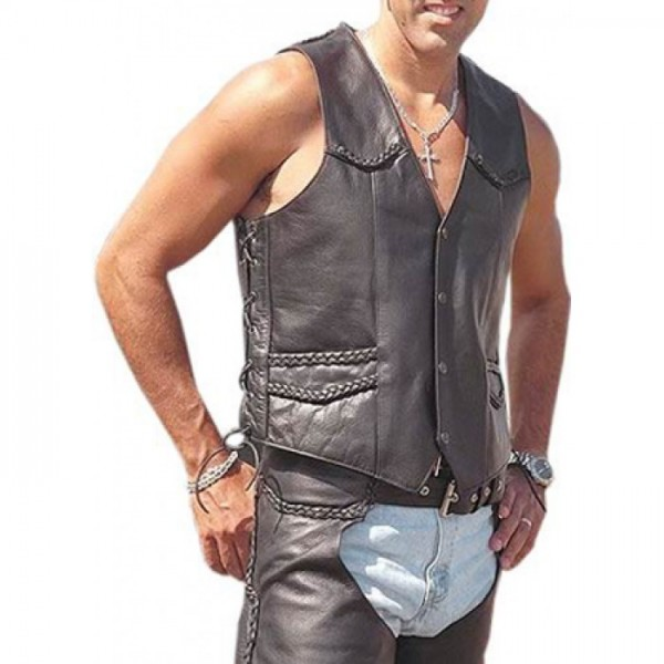 Mens Leather Biker Vest | Vest is Styled For a Form-Fitted Lo