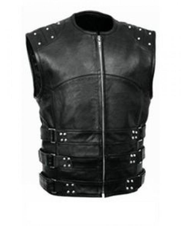 Black Leather Vest For M