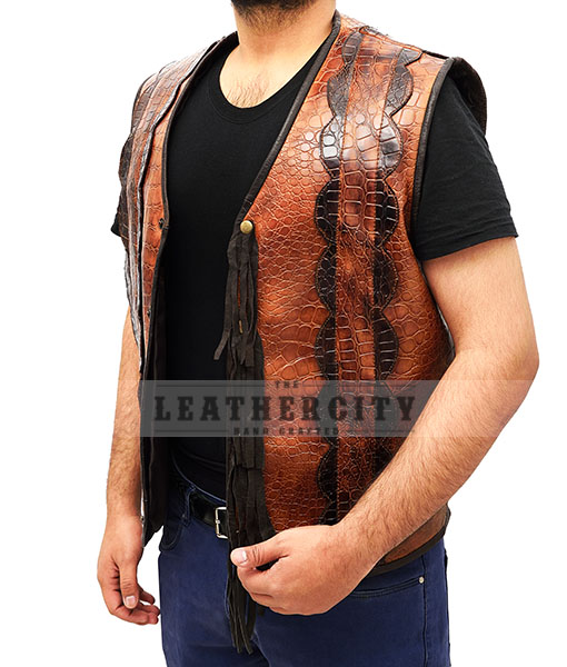 Dundee Crocodile Leather Vest - Authentic Leather Jackets and .