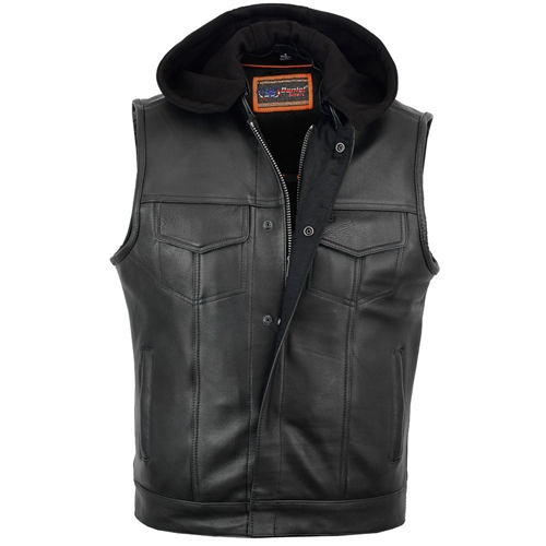 Hooded Zip-Up Leather Motorcycle Club Vest S-1