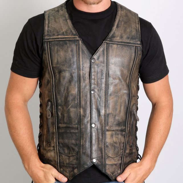 Hot Leathers Men's Distressed Brown Leather Ve
