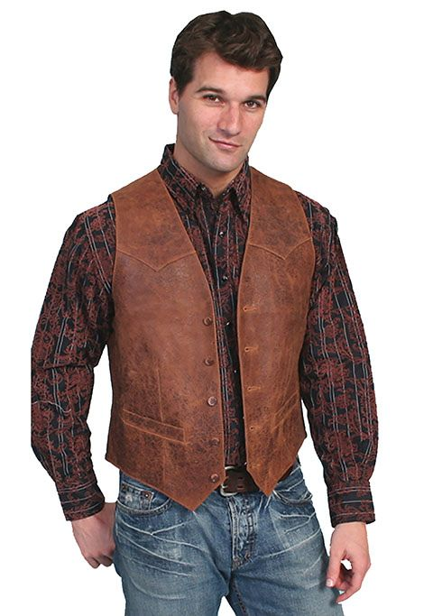 Men's Vintage Leather Vest, Brown - Gass Horse Supply & Western We