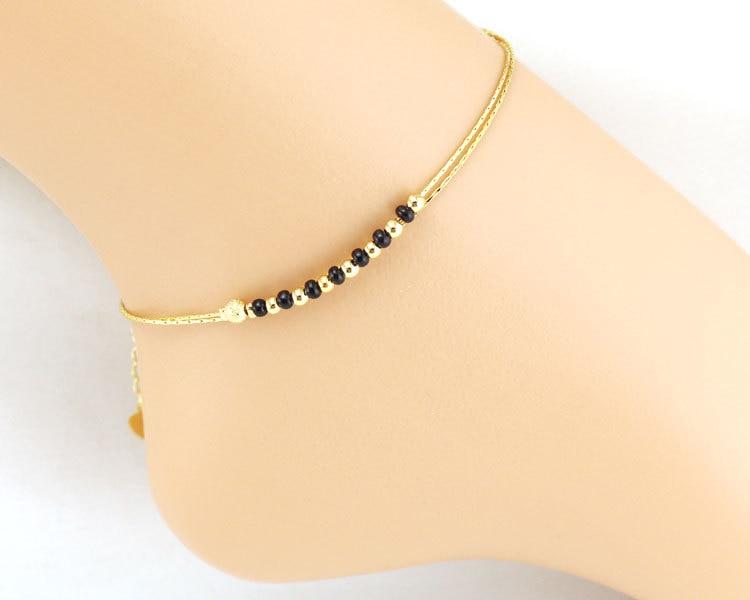 Beaded Anklet Gold Black Beads Leg Bracelet Foot Jewelry Ankle .