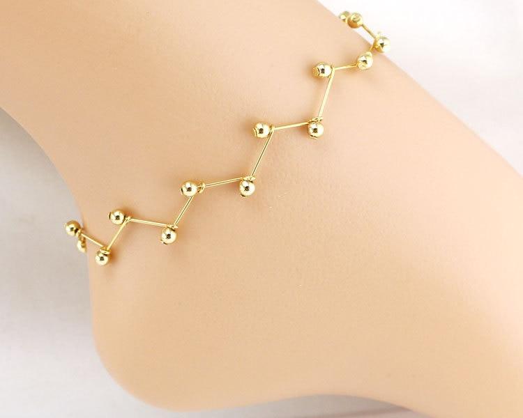 Gold Leg Bracelet Chain Bead Foot Jewelry Ankle Bracelets for .