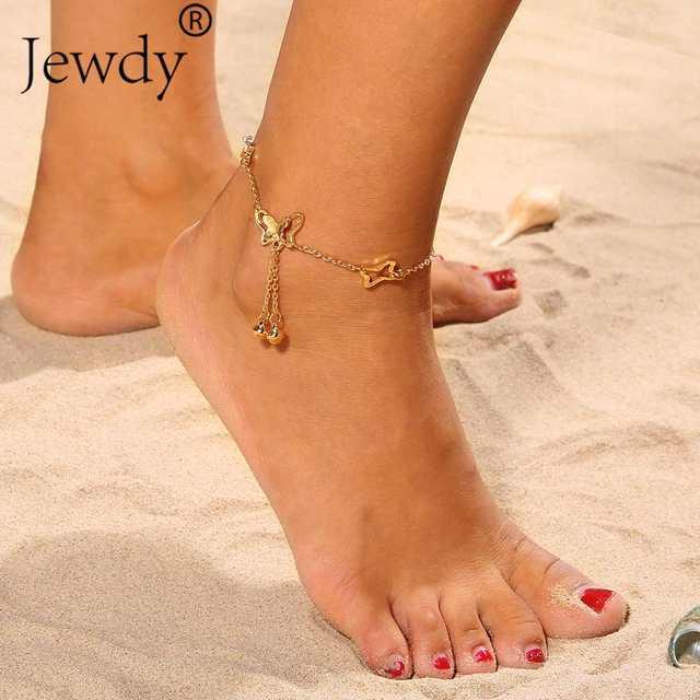 Bells Butterfly Pendant Anklets Foot Chain Summer Yoga Beach Leg .
