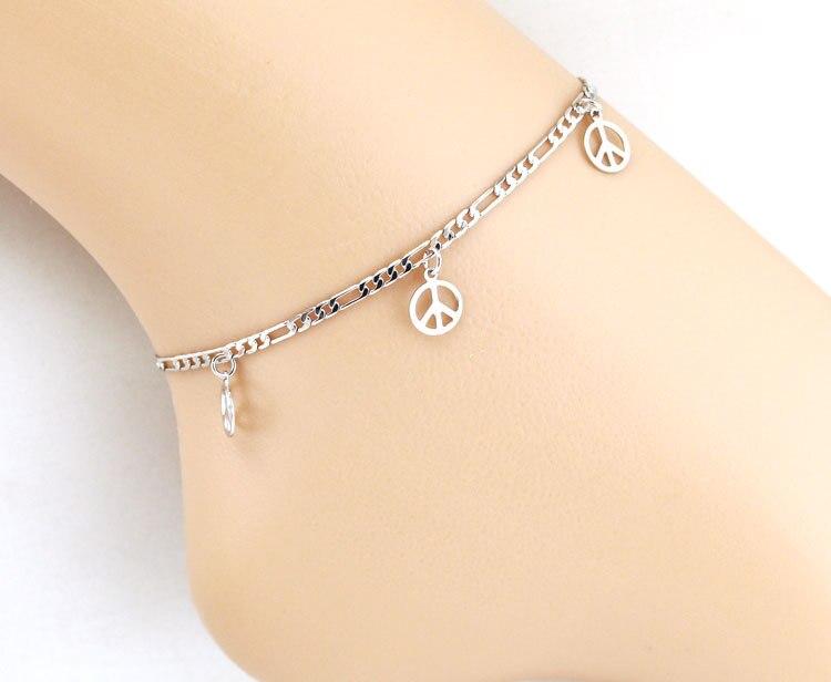 Peace Designer Silver Anklet Leg Bracelet Foot Jewelry Ankle .