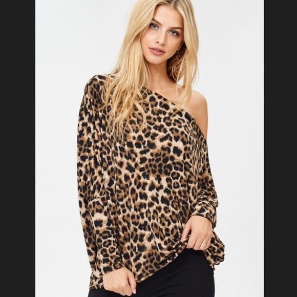 Tops | Off The Shoulder Leopard Print Top Jersey Knit | Poshma