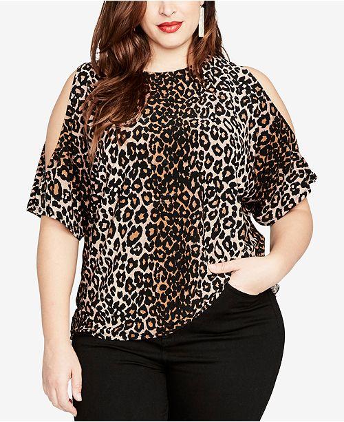 RACHEL Rachel Roy Trendy Plus Size Cold-Shoulder Leopard .