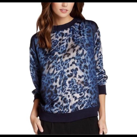Vince Camuto Tops | Blue Leopard Print Top Size Ps | Poshma