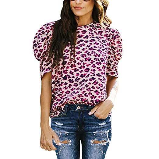 Misaky Women's Leopard Print Top Casual T Shirt O Neck Short .