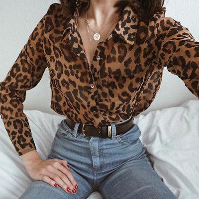 Women Casual Leopard print Top T Shirt Ladies Loose Long Sleeve .