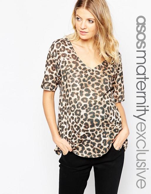 ASOS Maternity V Neck Leopard Print Top | AS