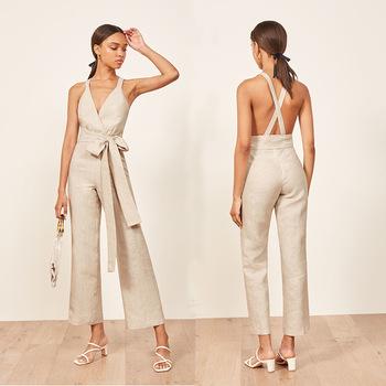 Wholesaler Cross Striped 100% Linen Clothing Women Bodycon .