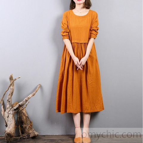 Elegant yellow linen shift dresses Loose fitting linen clothing .