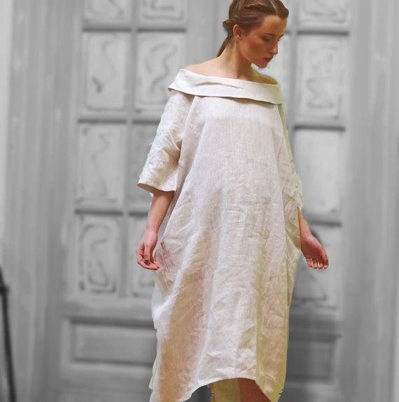 Linen Long Dress Collared Maxi Dress Linen Clothing Linen | Et