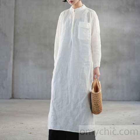 Elegant white natural linen dress Loose fitting stand collar linen .