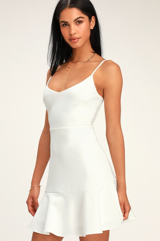 Cute White Mini Dress - Little White Dress - Fit and Flare Dre