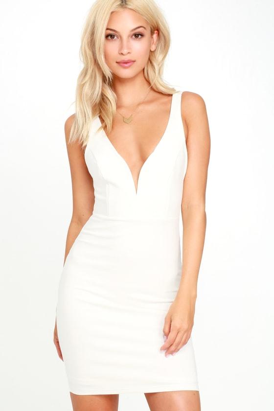 Sexy White Dress - Bodycon Dress - LWD - Little White Dress - $44.