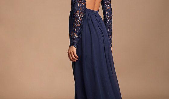 Navy Blue Dress - Maxi Dress - Lace Dress- Long Sleeve Dre
