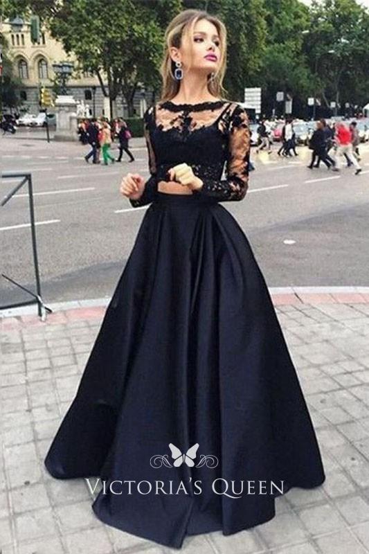 Two-piece Black Illusion Long Sleeve Pretty Prom Dress -