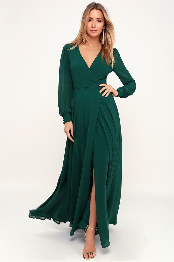 Glam Green Dress - Maxi Dress - Wrap Dress - Long Sleeve Dre
