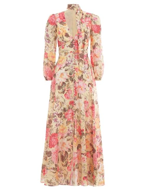 Honour Plunge Long Dress Lemon Floral Online | Zimmerma