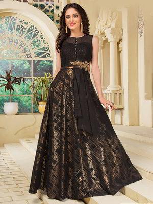 Black long dress, sleevele