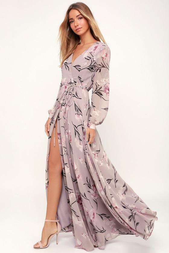 Glam Dusty Purple Dress - Floral Print Maxi Dress - Wrap Dre