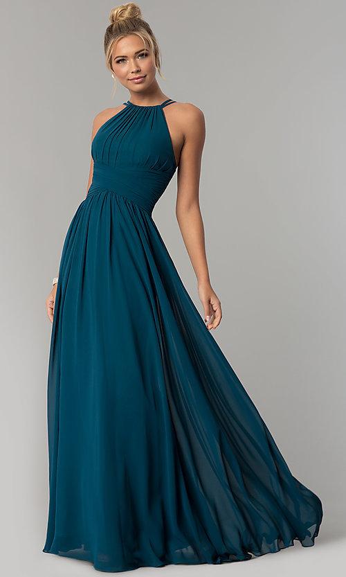 Chiffon High-Neck Ruched Long Prom Dress - PromGi