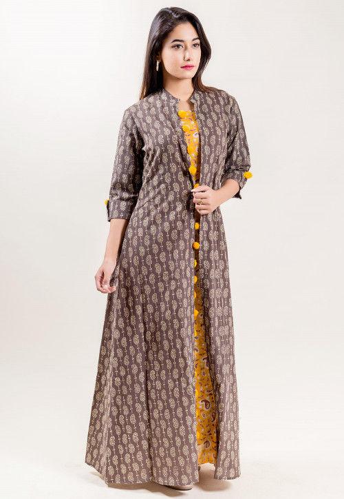 Paisley Printed Cotton Long Dress in Mustard : TQM1