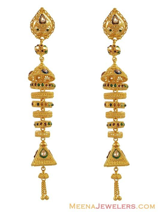 Long Chandelier Earrings | Long Chandelier Earrings (22K) ( Long .