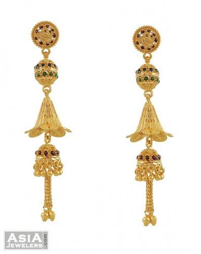 22K Meenakari Long Earrings - AjEr53503 - 22K Gold long Earrings .