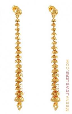 22Kt Long Gold Earring - ErLn6179 - 22k Gold long earring with .