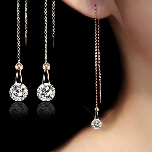 USTAR Water Drop long Earrings for women 2.0ct AAA Round cut Cubic .