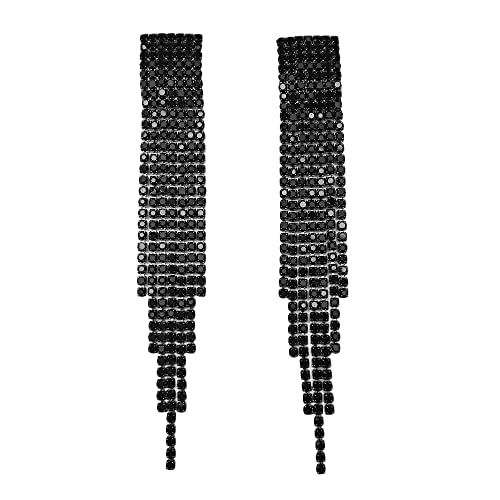 Black and Gold Long Earrings: Amazon.c