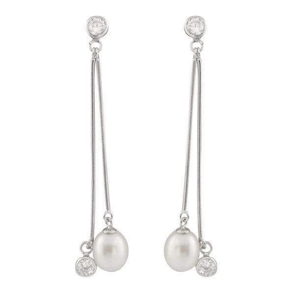 Shop Sterling Silver Dangling Bezel Freshwater Pearl Long Earrings .