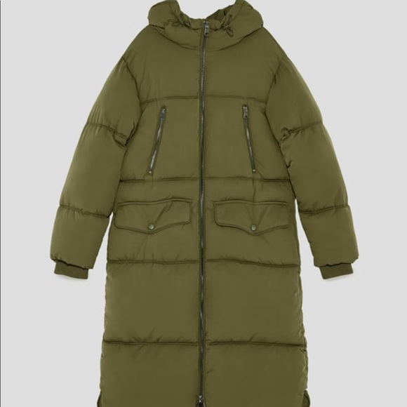 Zara Jackets & Coats | Long Oversized Puffer Coat Xs Khaki Green .