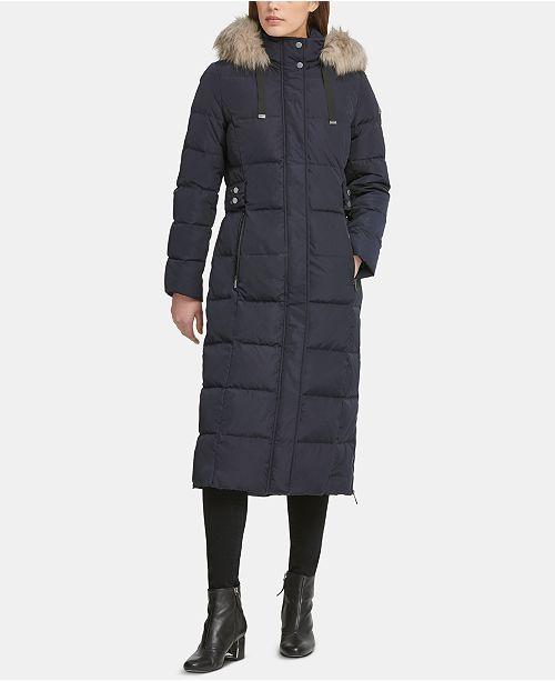 DKNY Hooded Faux-Fur-Trim Puffer Coat & Reviews - Coats - Women .