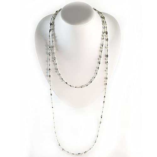 Amazon.com: Double Wrap Necklace Silver Beaded Boho Jewelry Long .