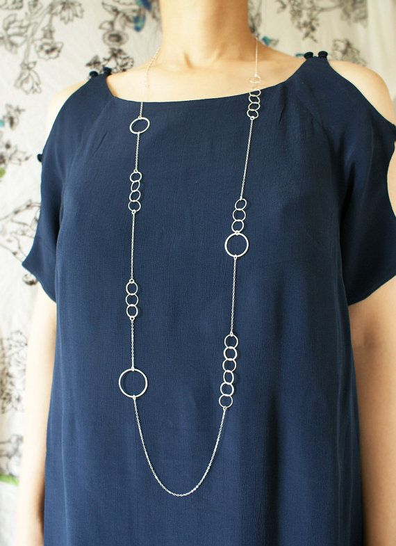 Silver Circles Long Necklace, statement necklace, sterling silver .