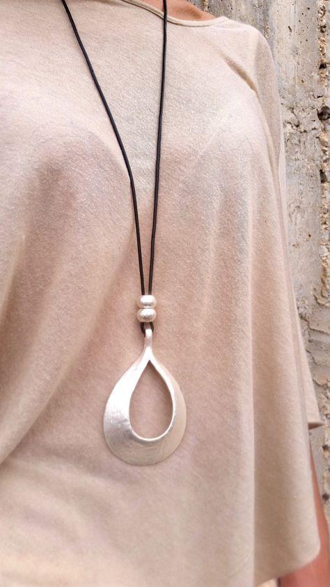 Drop silver pendant, Long necklace, Statement necklace, Large .