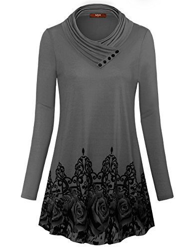 Gaharu Women's Long Sleeve Button Cowl Neck Floral Printed Casual .