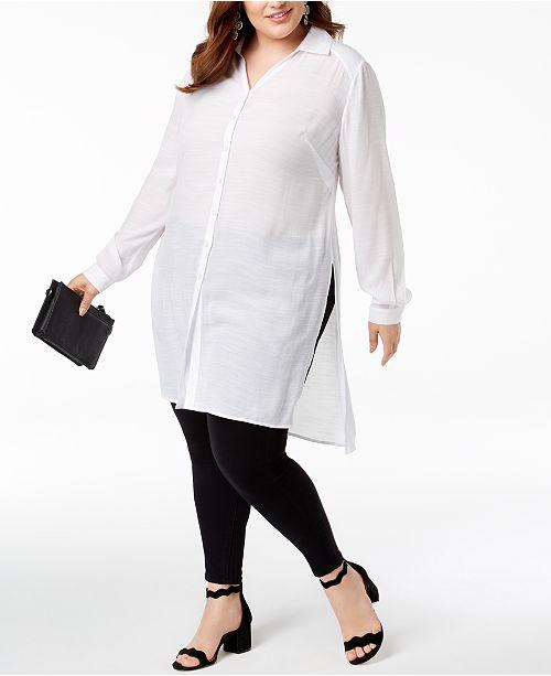 INC International Concepts INC Plus Size Long Linen Tunic Shirt .