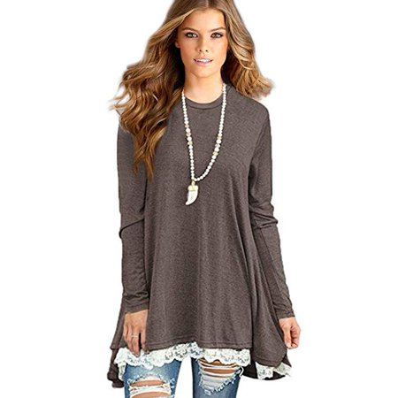 Isaac Liev - Women's Lace Long Sleeve Tunic Tops Shirt Clothing .