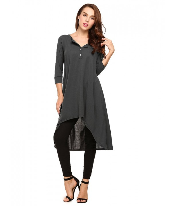 Women Casual 3 4 Sleeve Loose Dress V Neck Cotton Flowy Long Tunic .